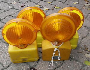 4  battery powered barricade amber lights $8 for all 4