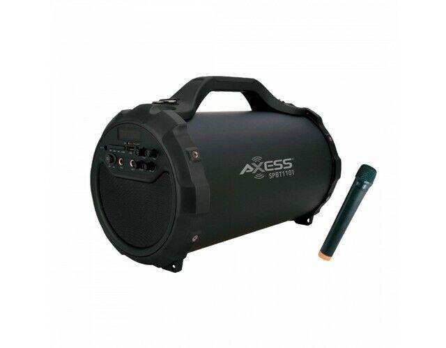 """Axess SPBT1101BK Portable Bluetooth Speaker 6"""" Subwoofer & USB/SD Inputs"""