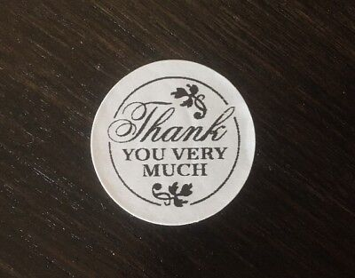 100 Thank You Very Much   Stickers Envelope Package Seals Labels 1  Round
