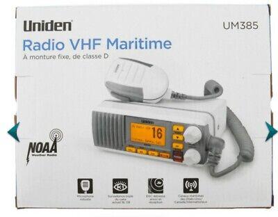 Uniden UM385 White 25 Watt Fixed Mount Marine VHF Radio, Waterproof Brand New