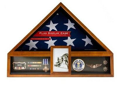 Oak Flag And Medal Case Burial/Memorial Flag Display USA  Seller  No Tax