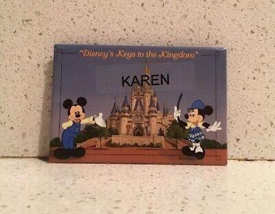 Disney Keys to the Kingdom Tour Name Badge Pin Walt Disney World KAREN Mickey