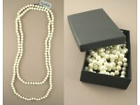 "60"" Faux Pearl knotted bead necklace. This item comes in a black gift box. - JTY311"