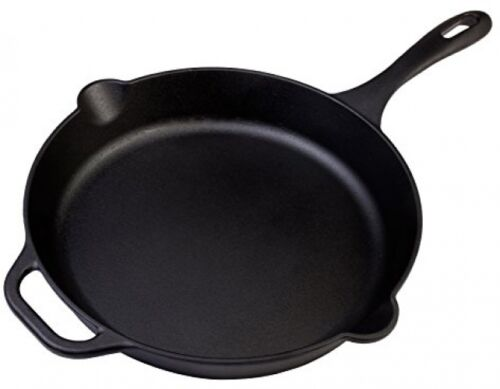 Large Pre-Seasoned Cast Iron Skillet by Victoria, 12-inch Ro