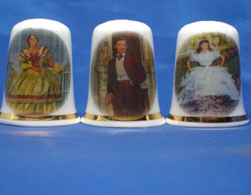 Birchcroft Thimbles -- Set of Three -- Gone with the Wind Movie Scenes