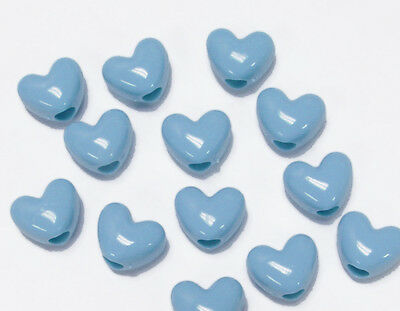 Baby Blue Heart shaped pony beads made in USA for crafts hair school VBS School