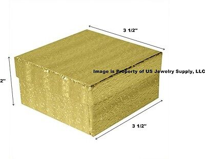 Wholesale 200 Gold Cotton Fill Jewelry Packaging Gift Boxes 3 12 X 3 12 X 2