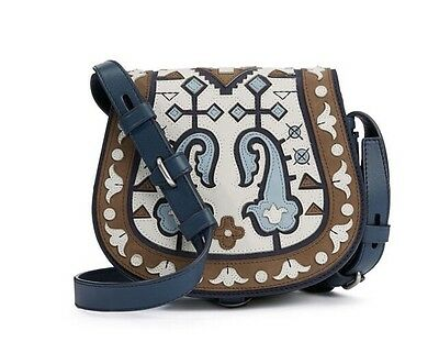 TORY BURCH PATCHWORK MINI SADDLEBAG NWT $695 & GIFT BAG 32159870 RUNWAY BAG