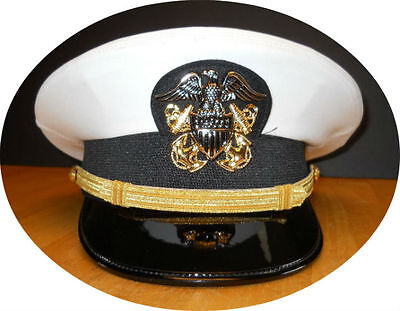 Us Navy Officer Uniform (US NAVY LINE OFFICER WHITE CURRENT UNIFORM VISOR HAT AUTHENTIC NEW ALL SIZES)