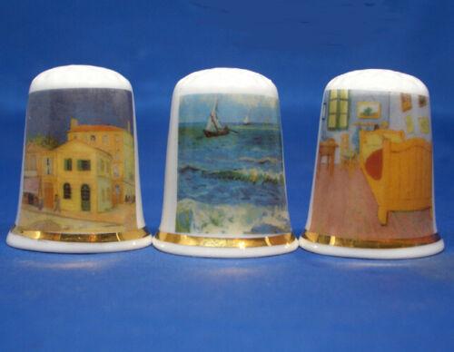 Birchcroft China Thimbles -- Set of Three -- Classic Van Gogh Paintings