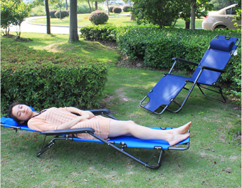 Outdoor Portable Blue Folding Chaise Lounge Chair Pool Lawn
