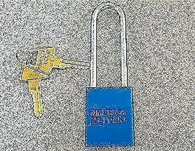 "AMERICAN LOCK  PADLOCK A1107KZBLU BLUE 1 BITTED , WITH 2 KEYS, 3 "" LONG SHACKLE"