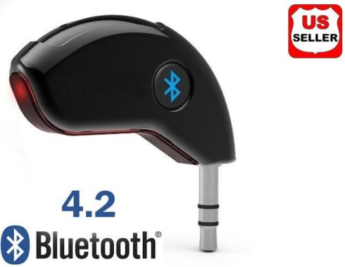 3.5mm AUX Car Bluetooth 4.2 Receiver Speaker Music Streaming Audio Adapter Mic Computers/Tablets & Networking