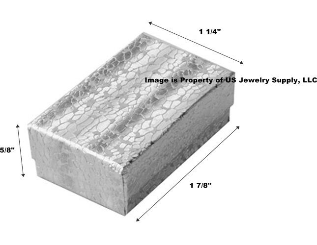 """Wholesale 500 Small Silver Cotton Fill Jewelry Gift Boxes 1 7/8"""" x 1 1/4"""" x 5/8"""""""