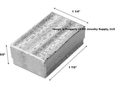 Wholesale 200 Small Silver Cotton Fill Jewelry Gift Boxes 1 78 X 1 14 X 58