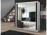 **Exclusive Offer** TWO DOOR SLIDING WARDROBE WITH MIRROR IN ALLCOULOURS 2 DOOR - EXPRESS DELIVERY