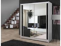 BRAND NEW CHICARGO 2 DOOR SLIDDING WARDROBE WITH FULL MIRROR FAST DELIVERY