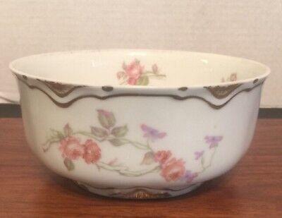 Haviland Limoges Schleiger 87 Double Gold Pink Roses Lavender Cranberry Bowl