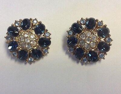 Vintage Estate Signed Clip On Earrings Flower Clear Cobalt Blue Glass Rhinestone