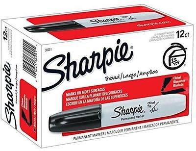 New 12pk Sharpie Permanent Markers Chisel Tip Broad Large Amplios 38201