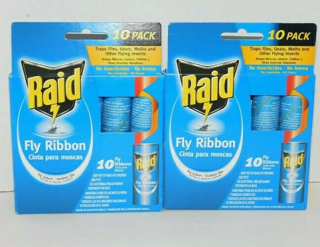 RAID Fly Ribbon Sticky Tape (2) Two 10 Packs for Flying Insect Total of 20 Traps
