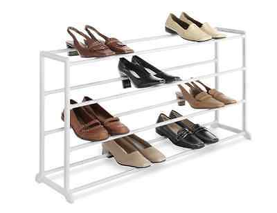 Whitmor 20 Pair Floor Shoe Rack, White Storage Closet Sneaker Boots