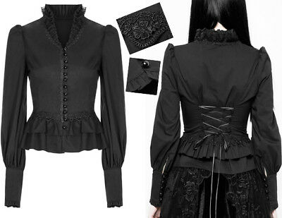 Korsett Kragen (Gothic Lolita viktorianisch Bluse Zierkragen Rüschen Stickerei Korsett Punkrave)