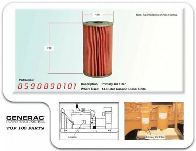 Generac Primary Oil Filter For 13.3l Gas And Diesel Generators 0590890101