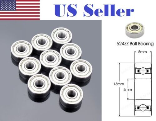 10pcs 624zz Steel Sealed Shielded Deep Groove Ball Bearing 4x13x5 Roller Bearing