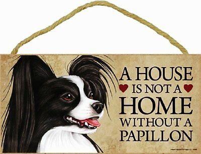 Papillon Wood Dog Sign Wall Plaque 5 x 10 for Dog Lovers Gift House Leash New
