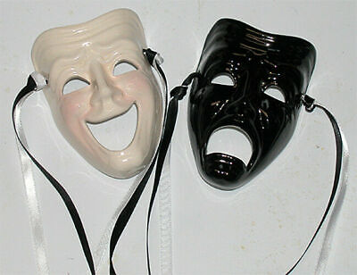 FREE SHIPPING-  Unique Creations Small Comedy / Tragedy Face Mask Wall Hanging  - Comedy Tragedy Masks