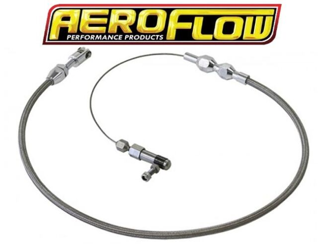 "AEROFLOW STAINLESS STEEL PFTE BRAIDED THROTTLE CABLE 60"" LONG AF42-1103"