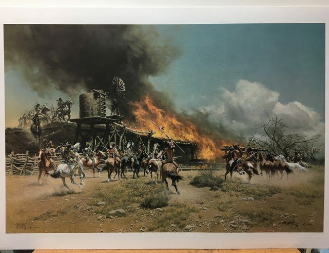 Frank McCarthy Burning the Way Station Indian Fighting Limited Edition Art Print