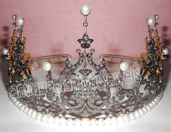 18.20cts ROSE CUT DIAMOND PEARL .925 STERLING SILVER TIARA