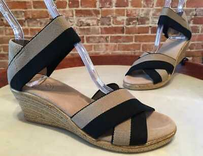 Charleston Shoe Black & Tan Stripe Stretch Cannon Espadrille Wedge Sandals -