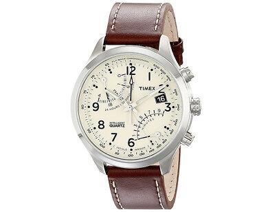 Timex Men's Intelligent Quartz Fly-Back Chronograph Leather Watch - T2N932
