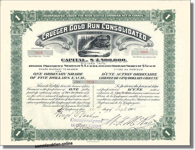 Crueger Gold Run Consolidated - ein berühmter Name des Goldbergbaus in Kanada. Branchenhistorisch überaus interessant.