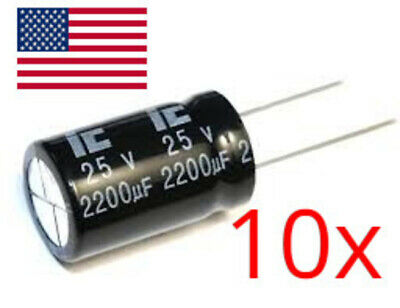 10x Condenser Electrolytic 100uF 25V 105ºC Electrolytic Capacitor