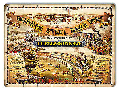 Glidden Steel Barb Wire Railroad Sign 9X12