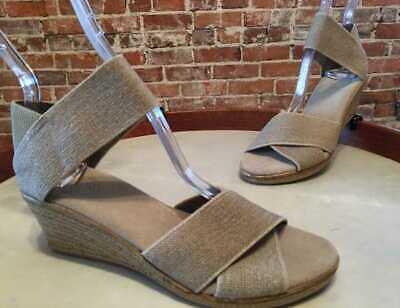 Charleston Shoe Natural Linen Stretch Cannon Espadrille Wedge Sandals -