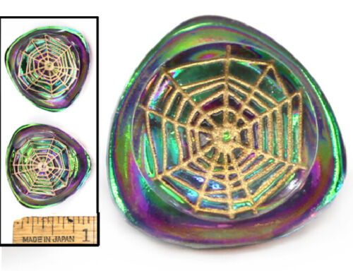 27mm Vintage Czech Glass Green Purple AB FIRE Spider Web Triangle Buttons 2pc