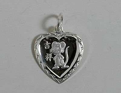 Chinese Zodiac Horoscope Sterling Silver Heart Animal Pendant NEW