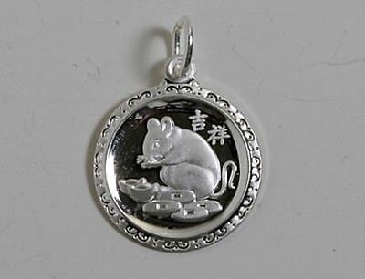 Chinese Zodiac Horoscope Sterling Silver Round Animal Pendant NEW