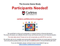 Participants Needed for Carleton Study (Earn up to $30 in 1 hr)