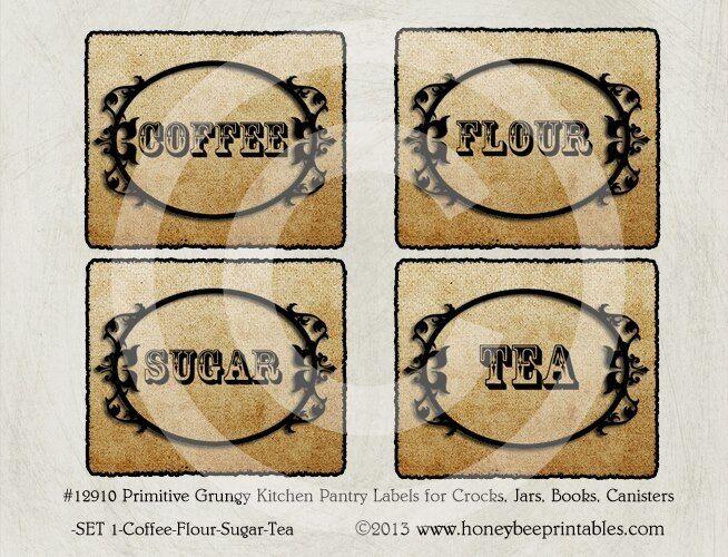 Primitive Vintage Grungy Kitchen Pantry Labels #12920-Canister Crock Jar Set //8