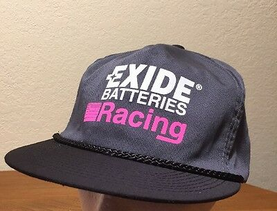 VINTAGE Exide Batteries Racing Gray SnapBack Hat Cap Rope