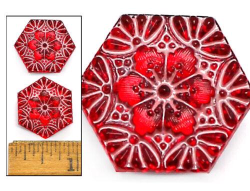 20mm Vintage Czech Glass CRANBERRY Pink Hexagon CHERRY BLOSSOM FLOWER Buttons 2p