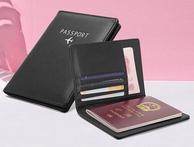 Slim Leather Travel Passport Wallet Holder RFID Blocking ID Card Case Cover US Passport & ID Holders