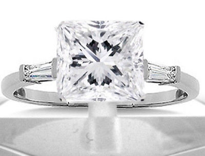 2.4 ct total 2 ct Princess Cut Diamond H SI1 Solitaire 14k Ring 2 baguettes