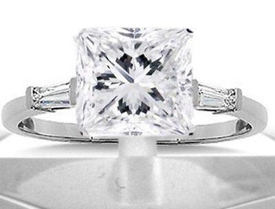 2.52 ct Princess Cut & baguette Diamond Engagement Solitaire Ring, G SI1 18k